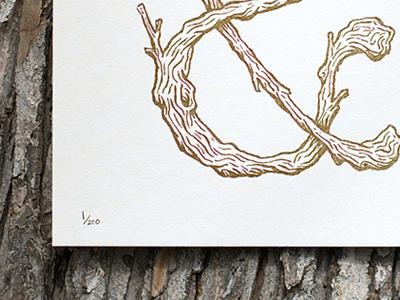 Amperbranch Print print letterpress poster art wood texture ampersand