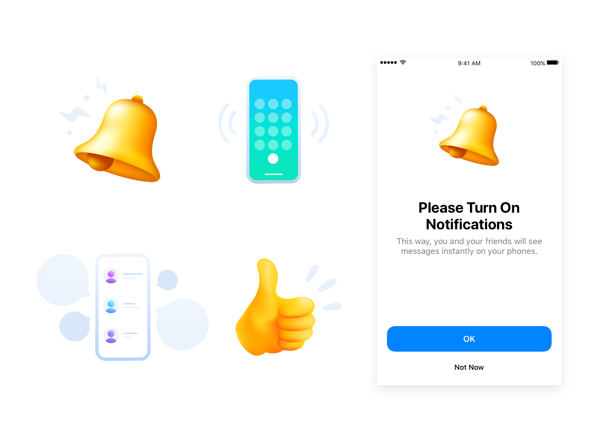 Messenger New User Experience uxd gradient vector ui emoji icons illustration