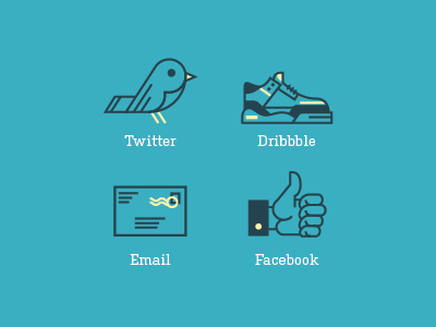 RA Contact Icons vector icons twitter bird dribbble shoe sneaker email letter stamp facebook hand illustration contact social