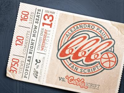 Ticket Stub typography texture vector logo