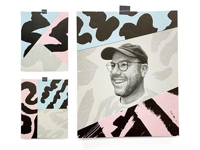 Self-Promo portrait pattern texture photo print risograph illustration