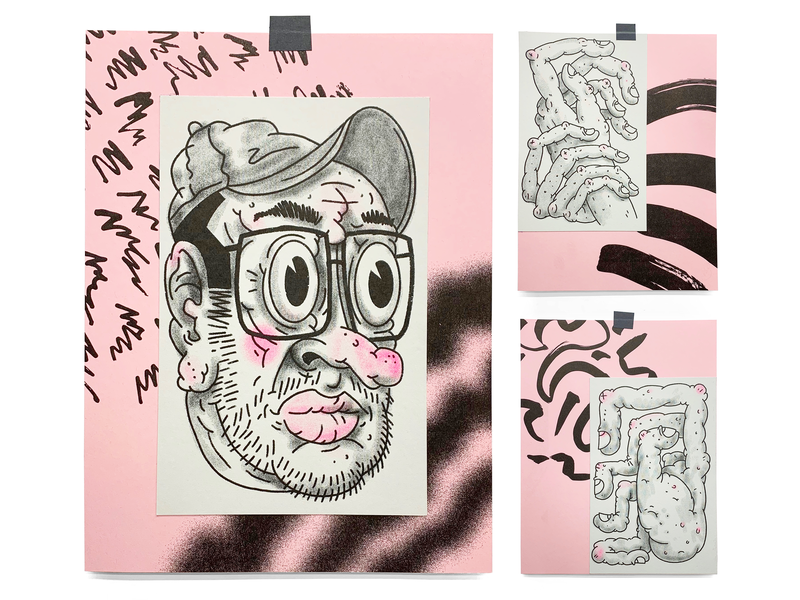 Getting Older hands old texture pattern collage risograph character illustration