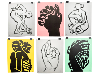 Figure Study Prints character figure risograph prints illustration