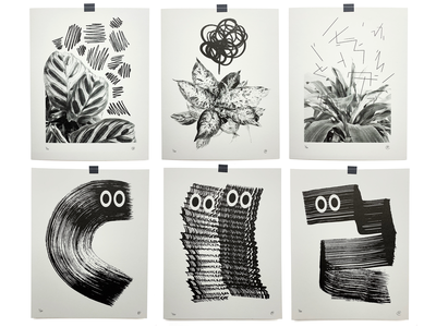 New Prints brush texture art print risograph photgraphy illustration