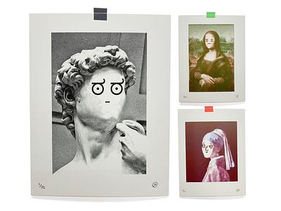 Art Fart emoji expression face david mona lisa print risograph art