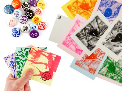 Shop Freebies brush abstract texture zine buttons post cards print risograph