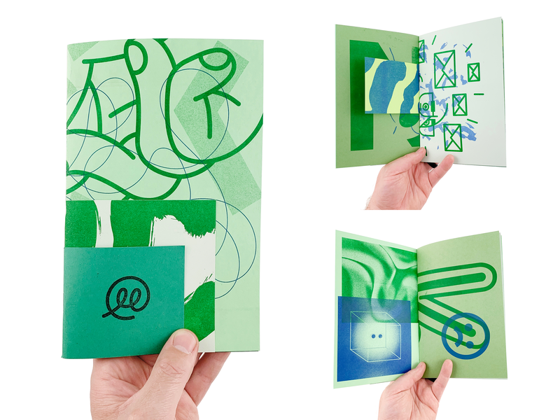 Green Scrapper texture art print zine risoprint risograph illustration