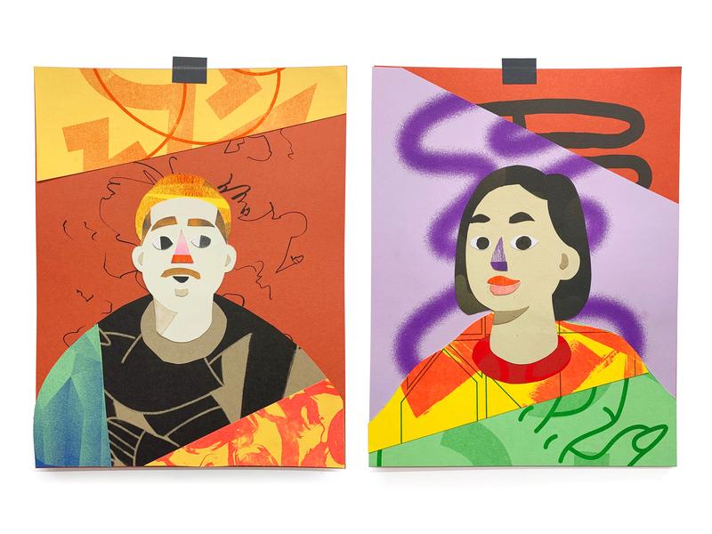 Friends Riso Collage avatar characters art print collage scraps riso risograph illustration