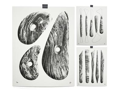 Pottery Tools trim rib tools pottery ceramics print art risograph texture illustration