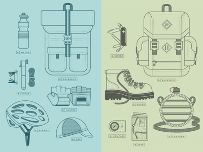 Packed Bike & Packed Hike illustration vector icons bike hike bag pocketknife water boots hat map compass canteen cap helmet tire