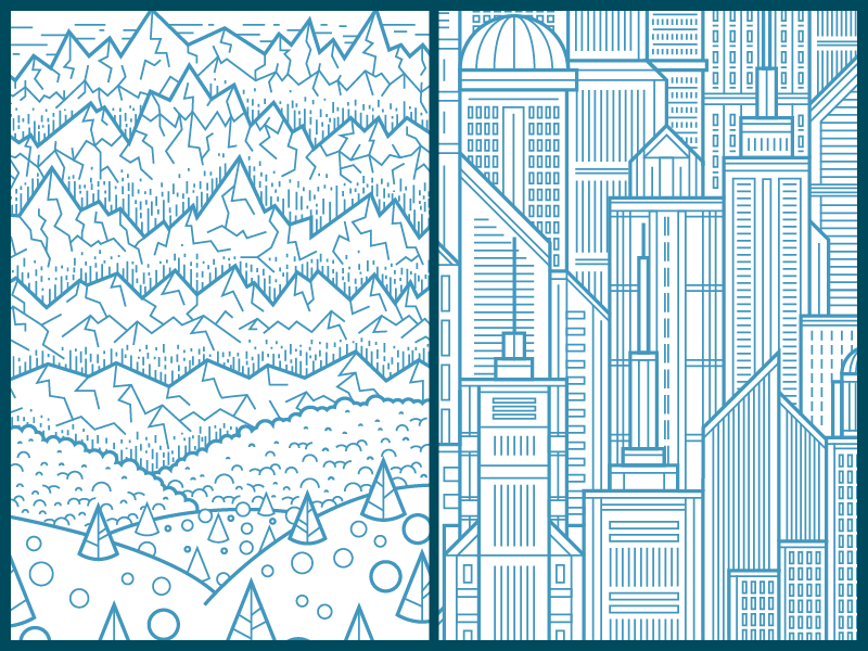 Environments 1 and 2 illustration vector landscape city buildings mountains trees bushes windows clean geometric