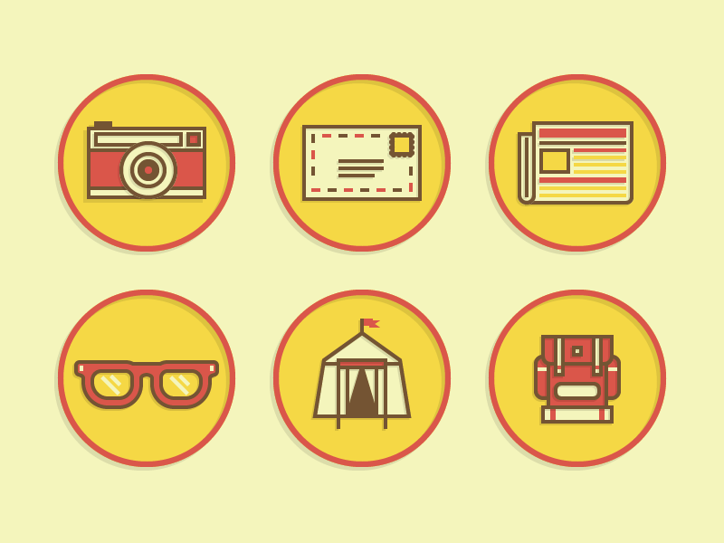 Merit Badge Icons icons illustrations vector badge camera email mail glasses tent backpack camping