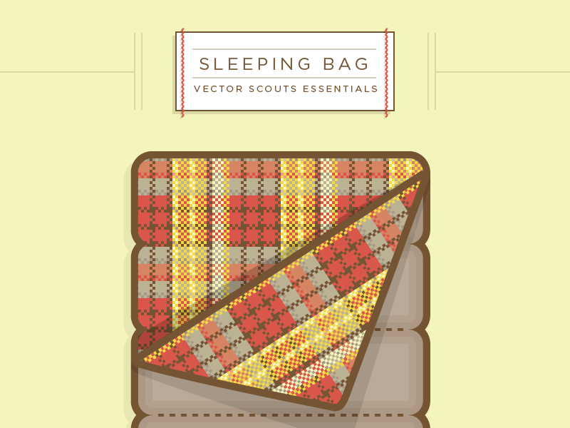 VS Sleeping Bag vector illustration typography label badge texture pattern seamless flannel stitch sleeping bag camping