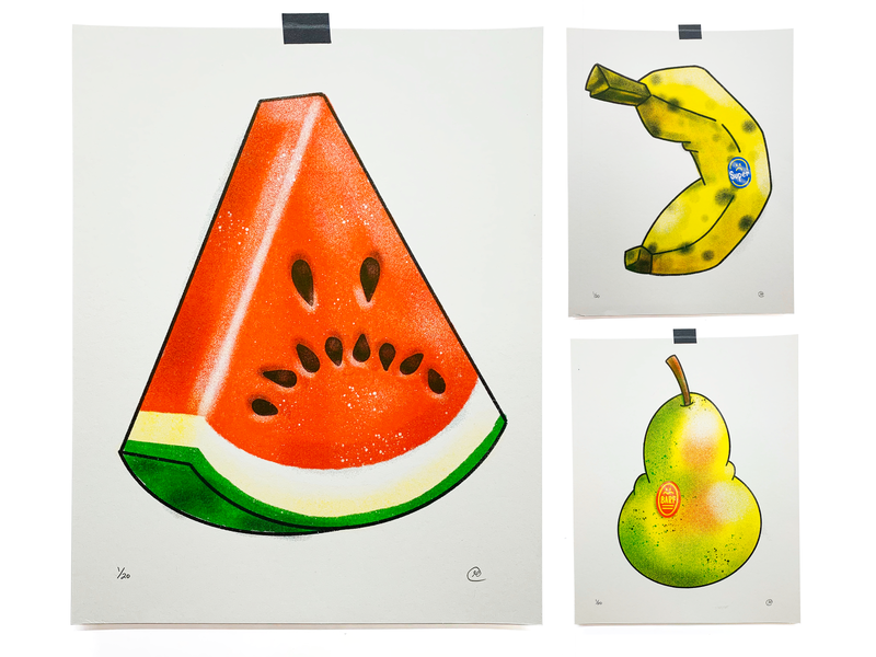 Sad Fruit watermelon banana pear sad fruit risograph print illustration