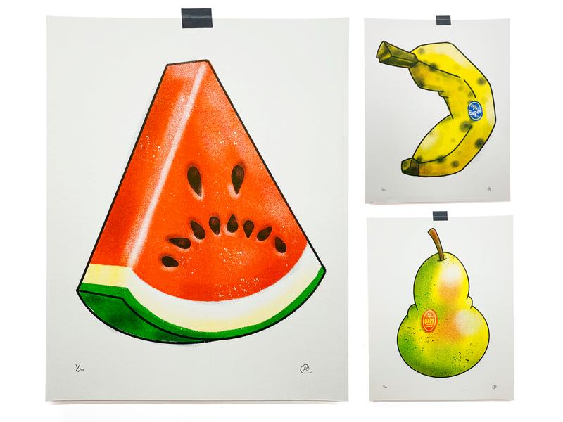 Sad Fruit watermelon banana pear sad fruit risograph print illustration