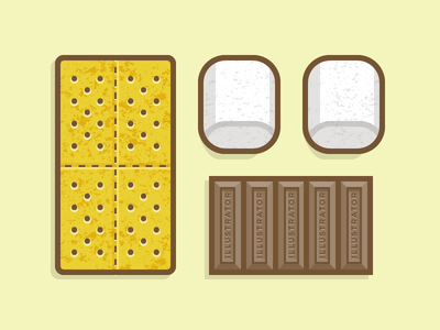 VS S'Mores vector illustration texture pattern food sweet graham crackers marshmallow camp roast illustrator
