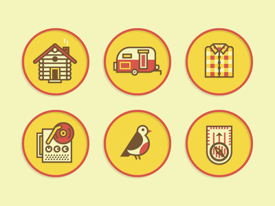 Merit Badge Icons 2 vector illustration icon merit badge cabin house trailer camp shirt flannel record turntable bird twitter vintage compass