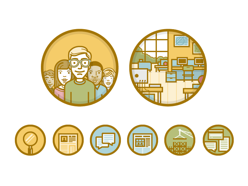 PD Icons vector icons illustration character avatar office modern match search profile listing chat talk building credit card geek glasses