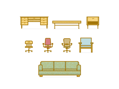 PD Furniture Icons illustration icons vector furniture desk table chair task office living couch vintage