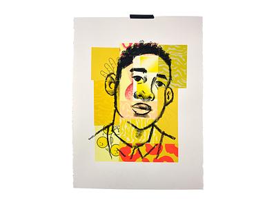 Portrait Studies texture drawing collage print risograph illustration
