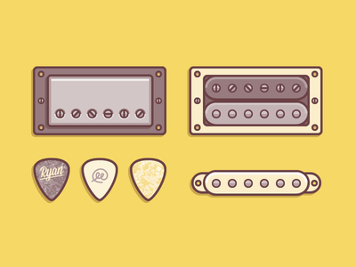 Guitar Accessories illustrations icons vector guitar pickup pick sound music simple flat rocking humbucker shred