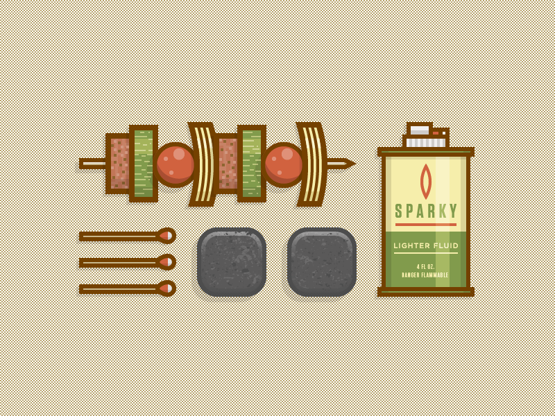 Grill Gear vector icons illustration grill food fire flame fuel matches charcoal briquettes beef meat squash tomatoes onions grub kabob
