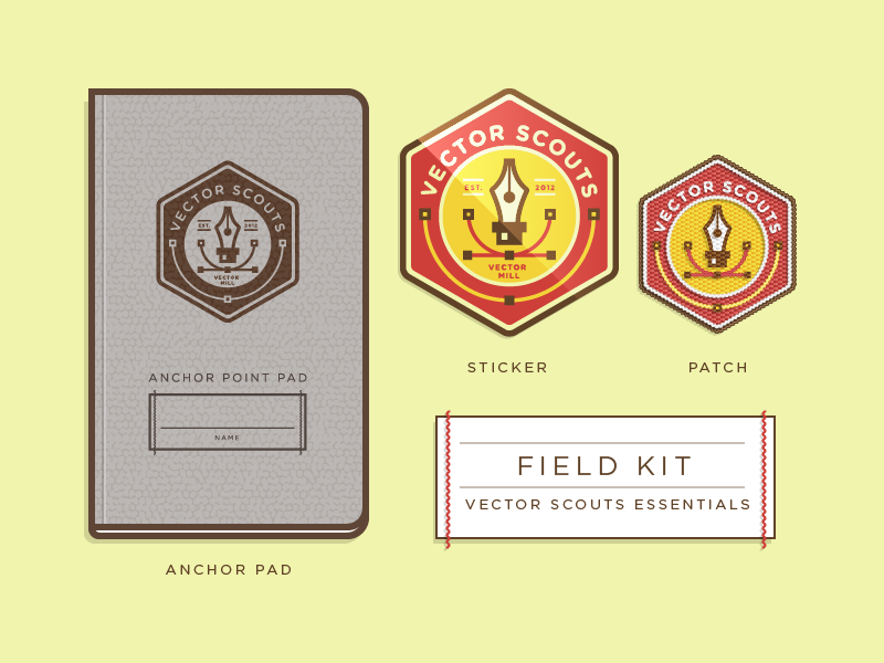 Vector Scout Field Kit Icons vector illustration icons badge logo seal pad book patch sticker typography kit field pen