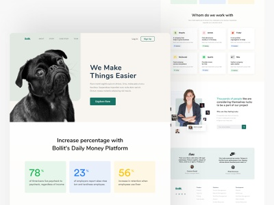 Bollit business landing page typography branding header ux testimonial features ui website website design landing page product business
