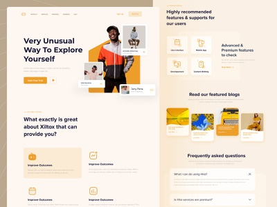 Xiltox Landing Page ui kit minimalist minimal clean ui clear clean illustration color typography product business features branding website website design landing page