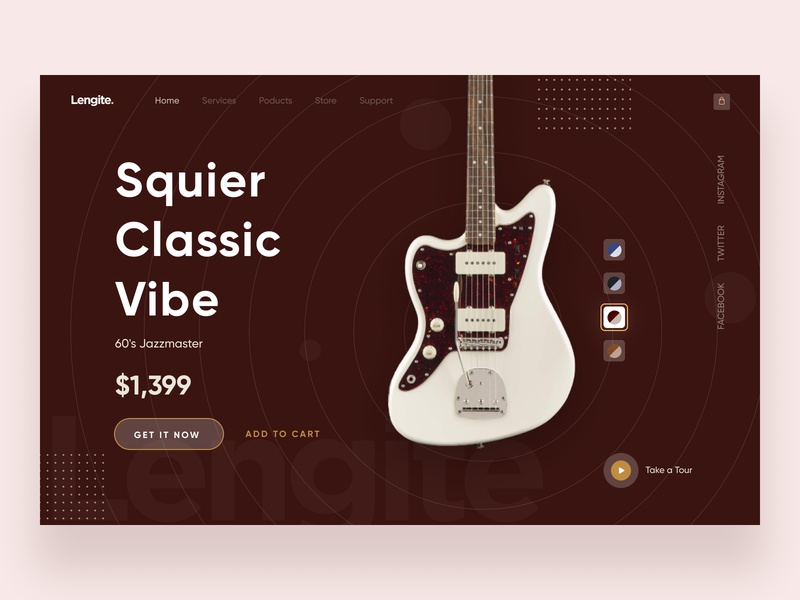 Lengite Product Header 2020 trend musical instrument online store shopping product music guiter landing page header dark ui products hero