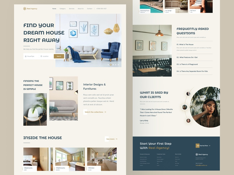 Real Agency Landing page clean simple faq reviews feedback branding product features minimalist minimal landing page house design furniture development property sell rent building house real estate