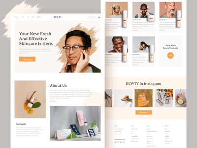 Bewty Landing page Concept beautiful instagram medicine personal care women man mockup model beauty product product website best shopping skincare landing page ui makeup ecommerce cosmetic beauty