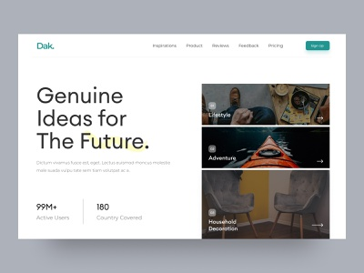 Dak. Web UI exploration typogaphy color web app furniture landing page lifestyle adventure decoration household featured concept design concept header web design hero website