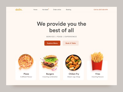 Dolin. | UI header exploration minimal color website design landing page local business ui product food and drink food app hero menu fast food resturent food