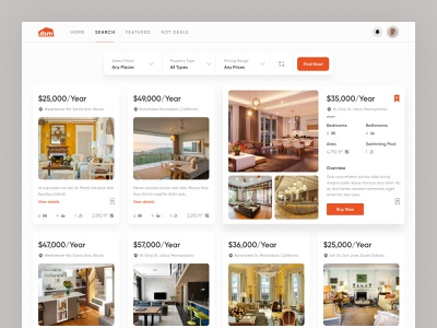 DSM | Sell your house real estate dashboard house home buy sell rent minimalist agency clean rooms minimal website luxury inner page search