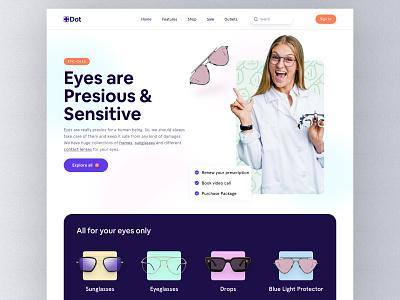 .Dot | Eye-care homepage UI exploration health medical doctor glass frame eyecare eyewear eye online shop store sunglass sunglasses header minimal product business website design landing page homepage