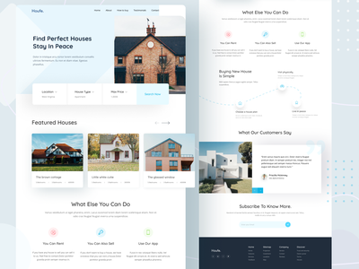 Houfe Real Estate landing page testimonials housing house realestate real estate ui features design website design website landing page