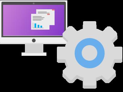 Computer & Gear Vector flat website minimal design logo app icon vector illustration