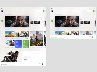 Steampowered — Light minimal style redesign steam gaming game design ux ui