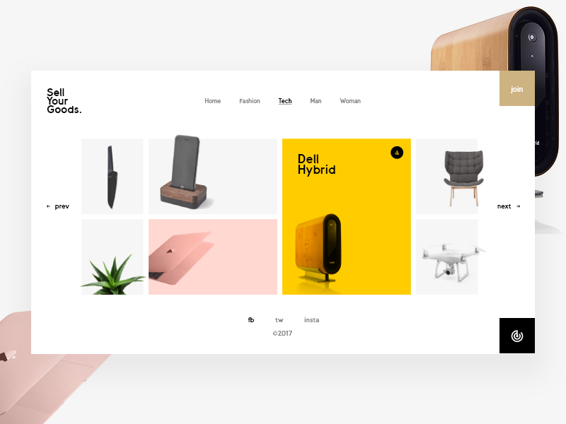 Sell Your Goods fashion white product grid minimal design ux ui web