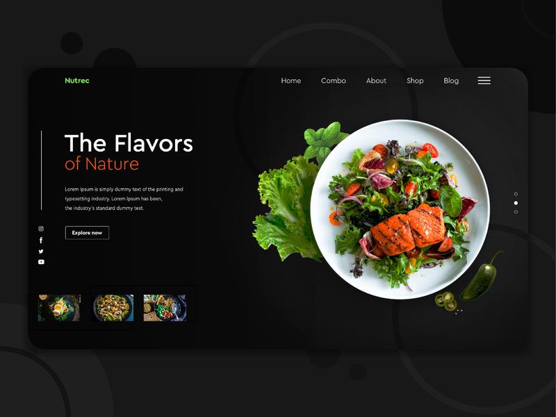 Natural Food homepage vegetarian vegetables vegan salad foodie landingpage restaurant food natural icon web business branding ux homepage banner ui digital design