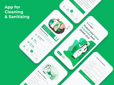 Cleaning sanitary cleaning onepage app ux uiux ui