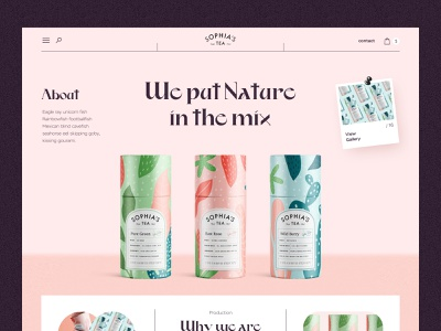 Sophia's Tea typography promo product page e-commerce website landing page landingpage tea product ux uiux ui