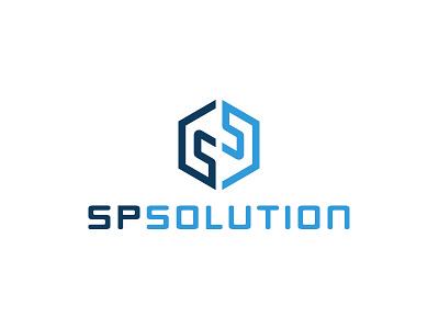 SPsolution Logo Wip logo brand cubic isometric ss logotype cube monogram