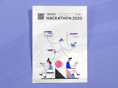 Hackathon 2020 experts competition time work challenge character uidesign coder code it wroclaw wrocław tooploox illustration poster hackathon