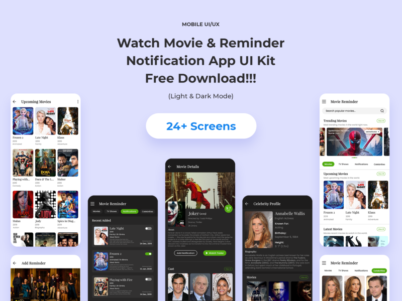 Watch Movie & Reminder Notification App free uiux ui  ux design hollywood celebrities movie notification movie reminder app watch movie download free kit movie download movie app ui kit notification reminder movie reminder uidesign streaming watch movie