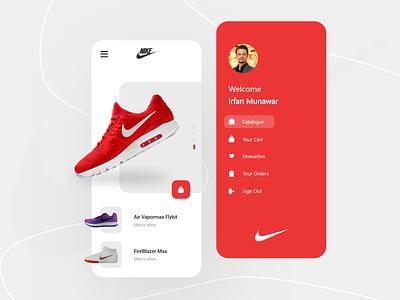 Nike App Design v.2 typography logo branding illustration mobileui ui  ux design app uidesign uiux ui android ios nike shoes