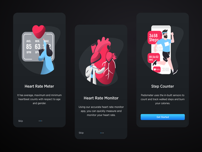 Heart Rate Monitor App - Onboarding Screens app design topdesigner2020 trending apps dark ui dark theme mobileui uidesign app ux ui ui  ux design step counter heart rate monitor app pedometer bpm heart app heart rate monitor app