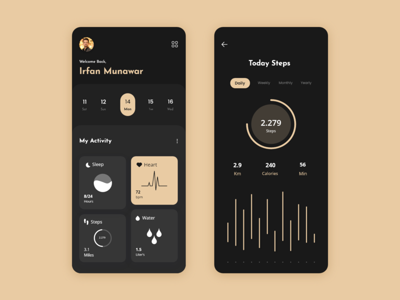 Health Tracker App Design mobileui uidesign app ui ux ui  ux design app design step counter sleep heart healthcare app designer healthy health app health tracker