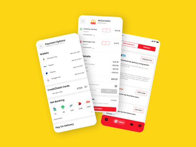 Food Delivery App uidesign ui ux ui  ux design food delivery app offers paypal restaurants promos mcdonald payment food app design food and drinks brandings food apps typography